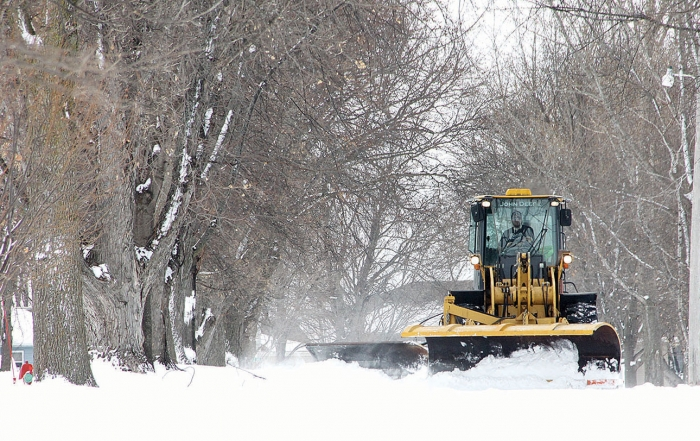 Benson plows were clearing city streets Sunday.