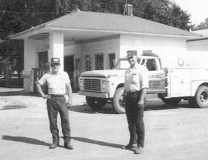 Ron Ascheman, left, stands with Fred Barth at the old station in Danvers back in the late 1960s.