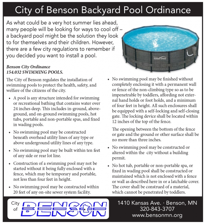 Last Year Five Residents Of Benson Bought And Installed Above Ground Pools In Their Backyards Thinking They Would Provide A Place To Cool Off On Hot