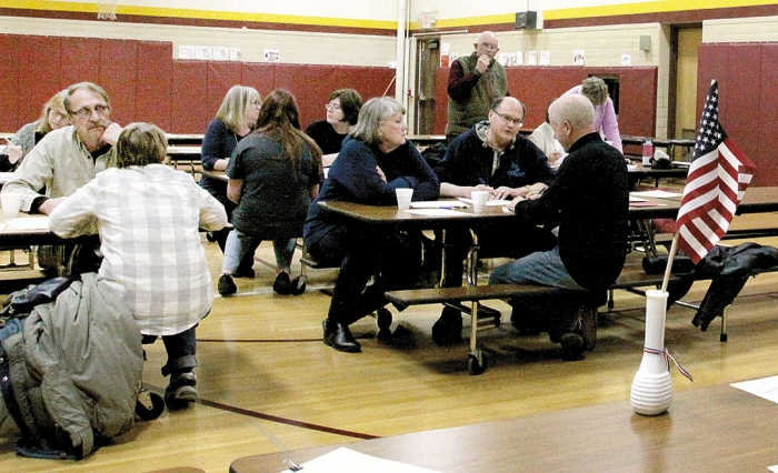 DFL caucus goers gathered at the Northside Elementary School last Tuesday to consider resolutions and vote on a straw ballot for their gubernatorial candidate of choice.