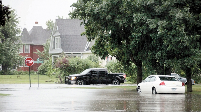 Monday saw nearly 3 inches of rain fall between 7:15 a.m. and 9 a.m. causing flooding of city streets as well as in farm fields in the area.