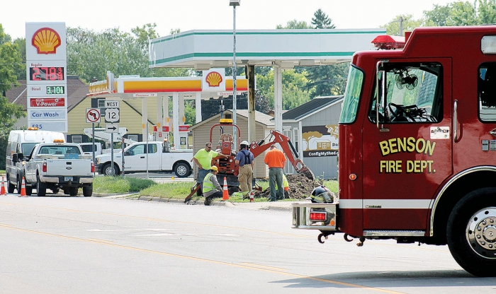 Center Point Energy crews worked to repair a ruptured gas line, Tuesday, Aug. 14, while the Benson Fire Department was on standby if needed. Fire department staff and city law enforcement assisted with traffic control and the initial evacuation of the area.