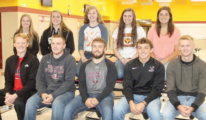 BHS Homecoming Royalty for 2017, front from left to right, are Kaden Schmidt, Shane Flower, Aaron Zosel, Matt Connolly, and Sam Lundebrek.  In back are Kelsey Gimberlin, Halle Hanson, Courtney McNeill, Anna Gosson, and Lizzie Staton.