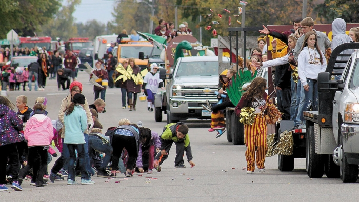 Pictured, the parade begins its journey south from the high school.