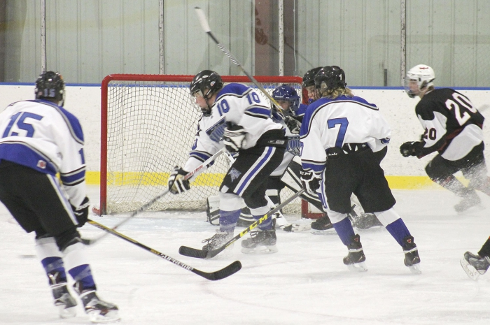 The MBA Storm fell to 1-4 overall with a pair of shutout losses last week.  In the picture above is action in Benson during the season opener.  The Storm have another game in Benson scheduled for this Saturday.  Above, Colden Helberg (10) gets the puck away from in front of the net as Taylor Staples (15), goalie Tony Bruns, and Dylan DeToy (7) look on.