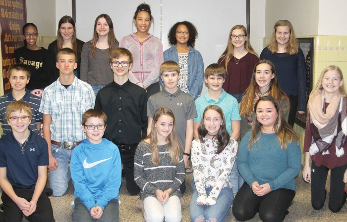 Pictured are the participants of this year's Spelltacular Spelling Bee, which took place Thursday night at the Northside Gym.  From left to right in front are Nick Bolduc, Jon Ilstrup, Hailee Ellingson, Amelia Hoffman, and Natalie Collins.  Second row -- Chaden Carroll, Jed Sherod, Taylor Duncan, Hunter LeClair, Blake Nagler, Eleanor Habben, and Katelyn Kobbermann.  Back -- Shukri Mohamed, Isabella Wolter, Azura Goodall, Kiara Schilling, Imani Brehmer, Olivia Kettner, and Kaitlyn Sondag.