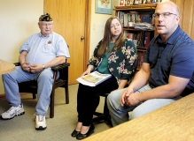 Marv Garbe, chair of the Montevideo Regional Veterans Home Committee, along with Montevideo Assistant City Manager Angie Steinbach and District 17A Rep. Tim Miller, R-Prinsburg, dicussed bonding approved for the facility during the 2018 Minnesota Legislative session.