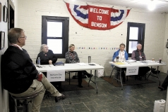City Cleark along with election judges Susan Snow, Mary K.W. Langan, Pam Lawatch, and Jim Hilleren wait for voters to come in Tuesday morning. Voter turnout was very low partially due to a morning blizzard and cold, blustery conditions that continued thorugh the day.