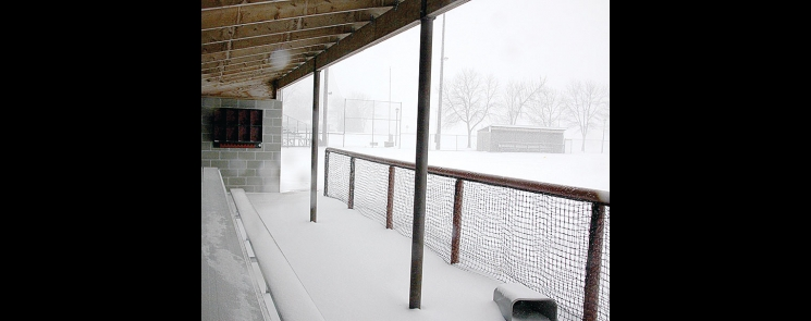With more than 7 inches of snow and ice over the weekend, and 17 inches of snow this month, Benson High School spring sports are on hold.