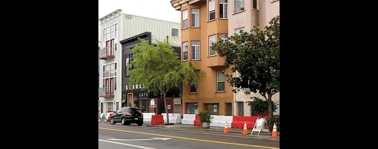 Floodstops manufactured by Custom Roto-Mold of Benson were deployed in the Mission District of San Francisco. Photo from Channel 7 KGO.