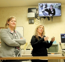 Last week, the Swift County-Benson Hosptial received training in how the Avera telemedicine system works. Pictured is SCHB RN Katie Guse, and Avera's Molly Johnson, RN Avera E-Care, who works in e-hub and the ER in Sioux Falls.