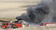 Area firefighters have been busy this past week responding to a grass fire, a combine fire and a rural garbage fire that threatened a nearby corn field.