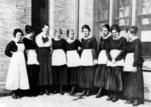 """Harvey Girls"" (shown above, circa early 1900s) that worked in the dining houses were all single, and required to sign a one year contract."
