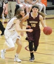 Amanda Nissen tries to dribble past Sauk Centre's Madison Greenwaldt during a 70-25 loss to Sauk Centre last Tuesday night in Benson.