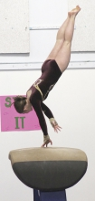 MiKaylie Hagen performs on the vault for the Benson-KMS-Montevideo gymnastics team at a recent home meet.  The gymnasts have two more home meets this season on Jan. 7 (Long Prairie-GE) and Jan. 28 (Hendricks).